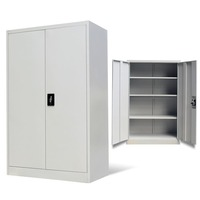 Steel Office Cabinet Locker w 2 Doors in Grey 140cm