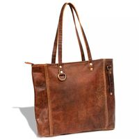 Genuine Goat Leather Handbag Shopping Tote in Brown