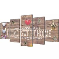 Sweet Home 5 Panel Canvas Print Visual Wall Art Set