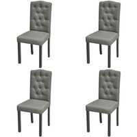 4x Wood & Fabric Upholstered Dining Chairs in Grey