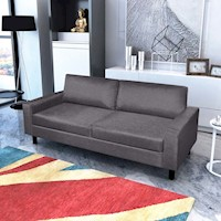 Modern 3 Seat Fabric Upholstered Sofa in Dark Grey