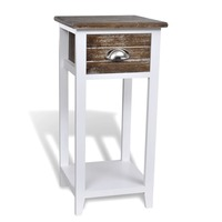 Wooden Telephone Side Table w/ Drawer Brown & White