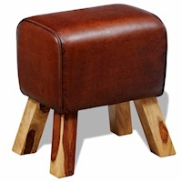 Genuine Goat Leather Ottoman Footstool in Brown