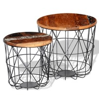 2pc Round Reclaimed Wood Coffee Tables 35cm / 45cm