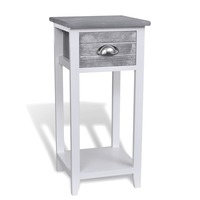 Wooden Telephone Side Table with Drawer in Grey