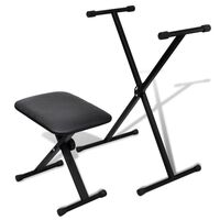 Adjustable Electric Piano Keyboard Stand and Stool