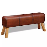 Genuine Goat Leather Ottoman Bench in Brown 120cm