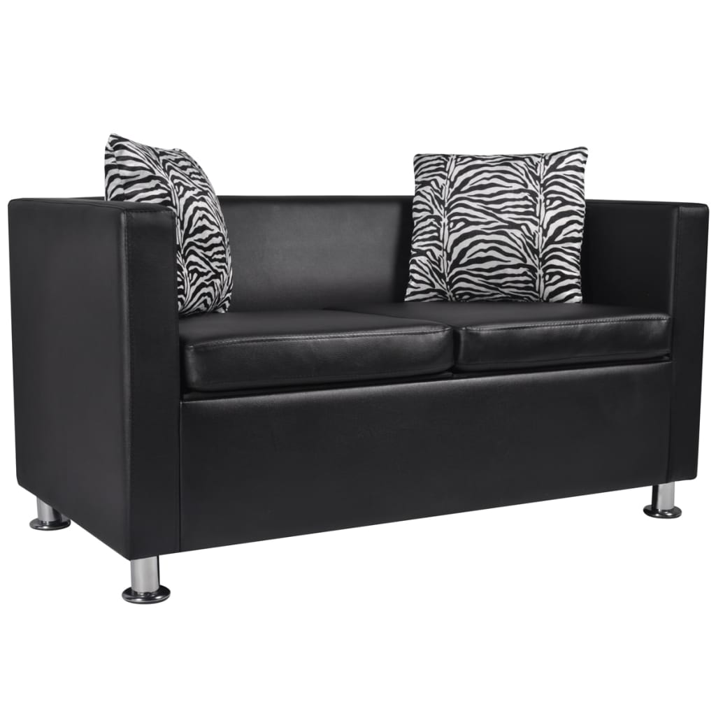 Black Leather Sofa Throw Pillows: Black Leather Sofa Bed 2 Seater Lounge Suite Couch Chaise