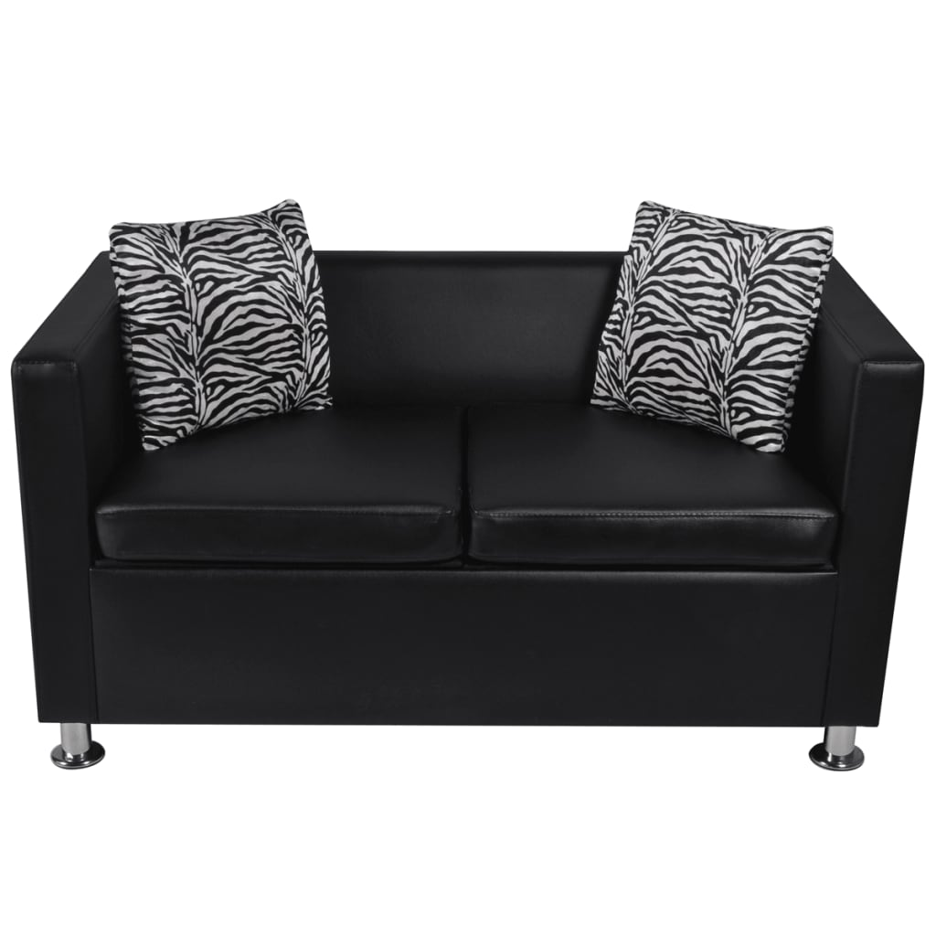 Black Leather Sofa Bed 2 Seater Lounge Suite Couch Chaise