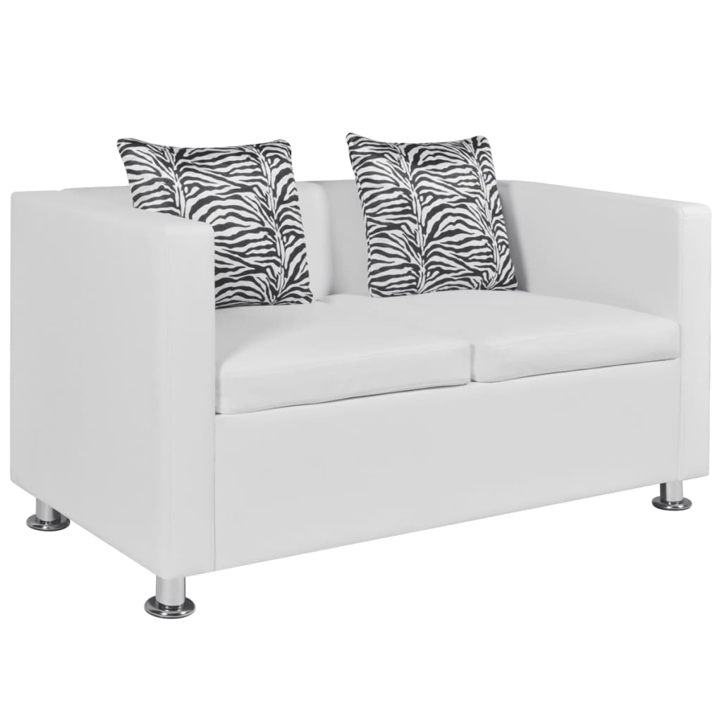 White Leather Sectional Sofa Bed: White Leather Sofa Bed 2 Seater Lounge Suite Couch Chaise