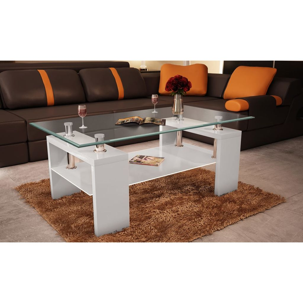 Annika White Gloss Coffee Table: White Coffee Table High Gloss Glass Top 2 Tiers Modern