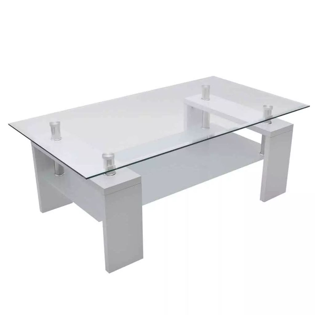 Modern Design White High Gloss Nest Of 3 Coffee Table Side: White Coffee Table High Gloss Glass Top 2 Tiers Modern
