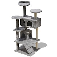 Cat Scratching Post Tree w/ 2 Houses in Grey 130cm