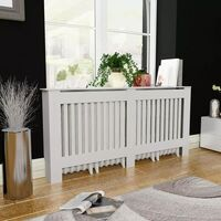 MDF Radiator Cover Heating Cabinet in White 172cm