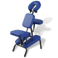 Portable Folding Faux Leather Massage Chair in Blue