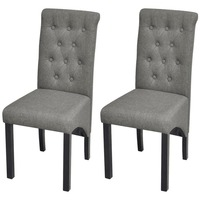 2x High Back Polyester Dining Chairs in Dark Grey