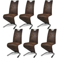 6x Faux Leather U Cantilever Dining Chairs in Brown