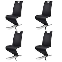 4x Faux Leather H Cantilever Dining Chairs in Black