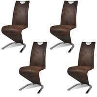 4x Faux Leather U Cantilever Dining Chairs in Brown