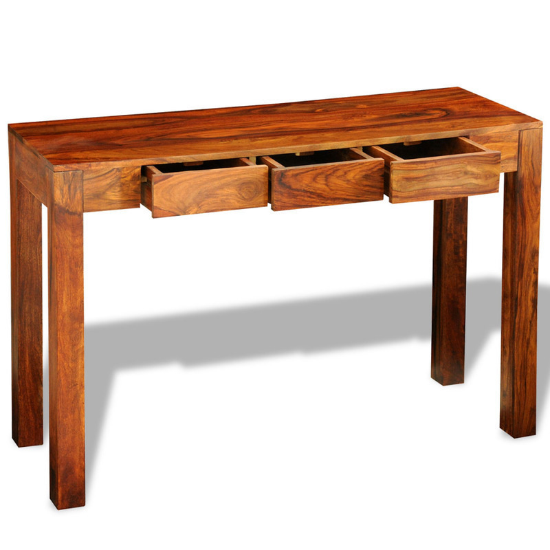 Wonderful Solid Sheesham Wood Console Table W 3 Drawers Brown