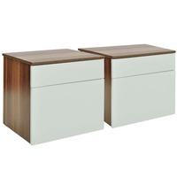 2x MDF & Chipboard Bedside Table w/ Drawer in White