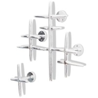 2pc Wall Mounted Aluminium Clothes Hooks in Silver