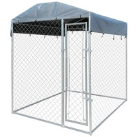 Steel Dog Kennel Enclosure with Canopy 2x2x2.35m