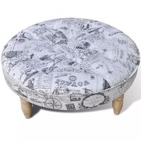 Round Fabric Padded Ottoman with 4 Wooden Feet 81cm