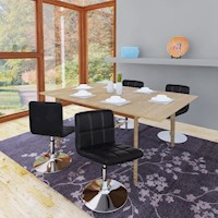 4x Gas Lift Faux Leather Grid Dining Chair in Black
