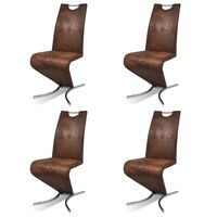 4x Faux Leather H Cantilever Dining Chairs in Brown