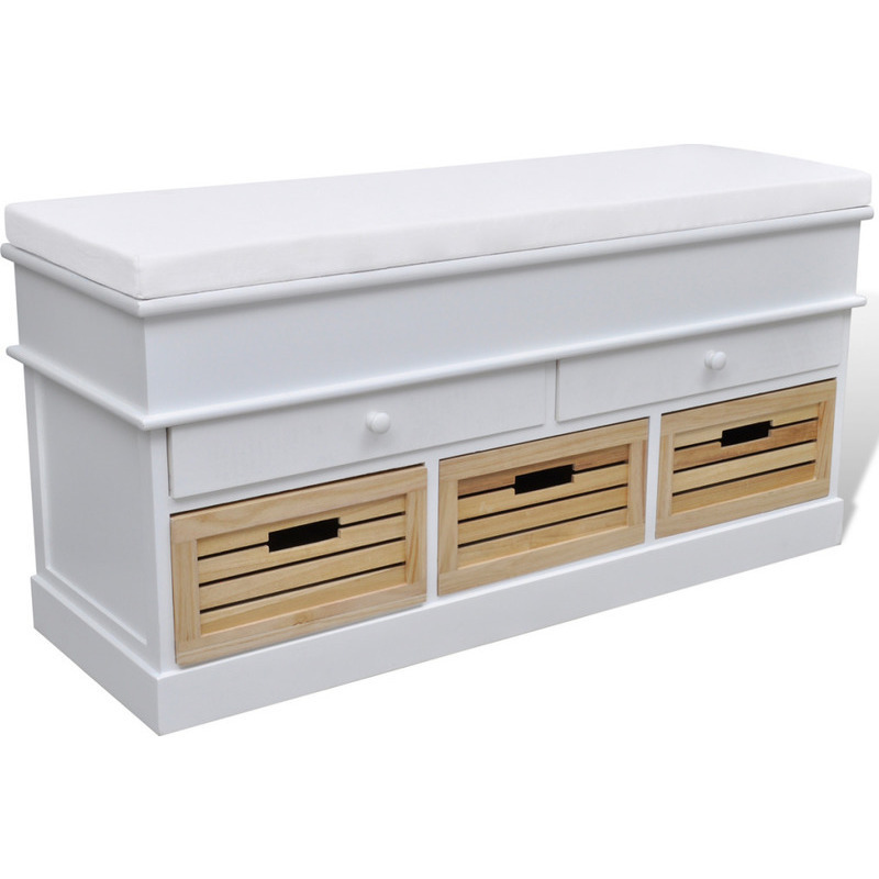 Foyer Bench With Drawers : Entryway bench shoe cabinet w crate drawers white buy