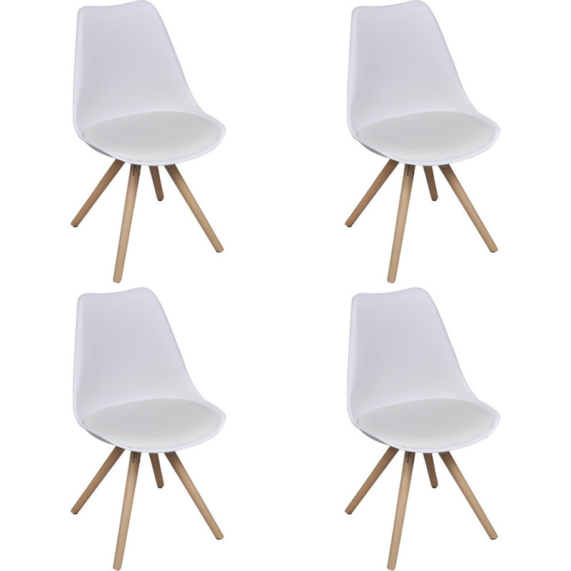 4x eames inspired faux leather dining chairs white buy for Leather eames dining chair