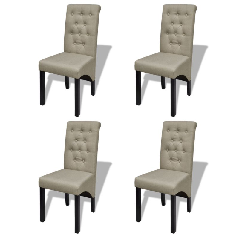 4x polyester fabric dining chairs in antique beige buy for Chaise de salle a manger confortable