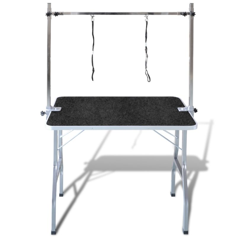 Foldable pet grooming table w rubber mat loops buy
