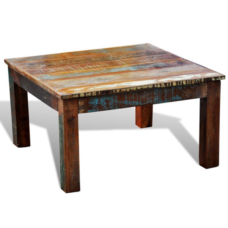 Vintage Style Square Reclaimed Wood Coffee Table