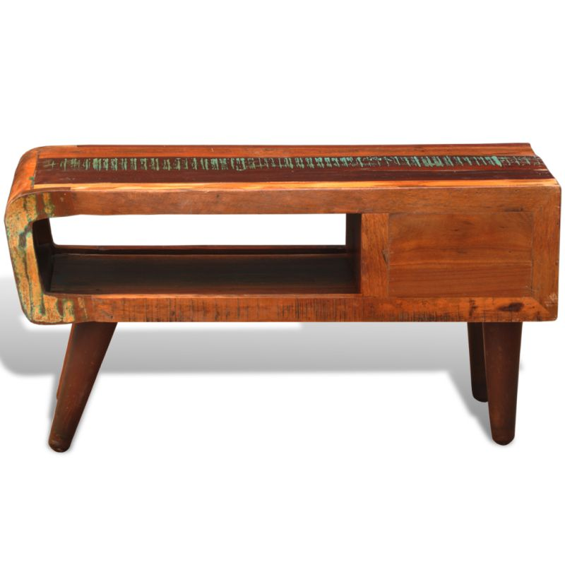 Vintage Reclaimed Wood Coffee Table w Curved Edge Buy Coffee Tables # Table Basse Vintage Bois