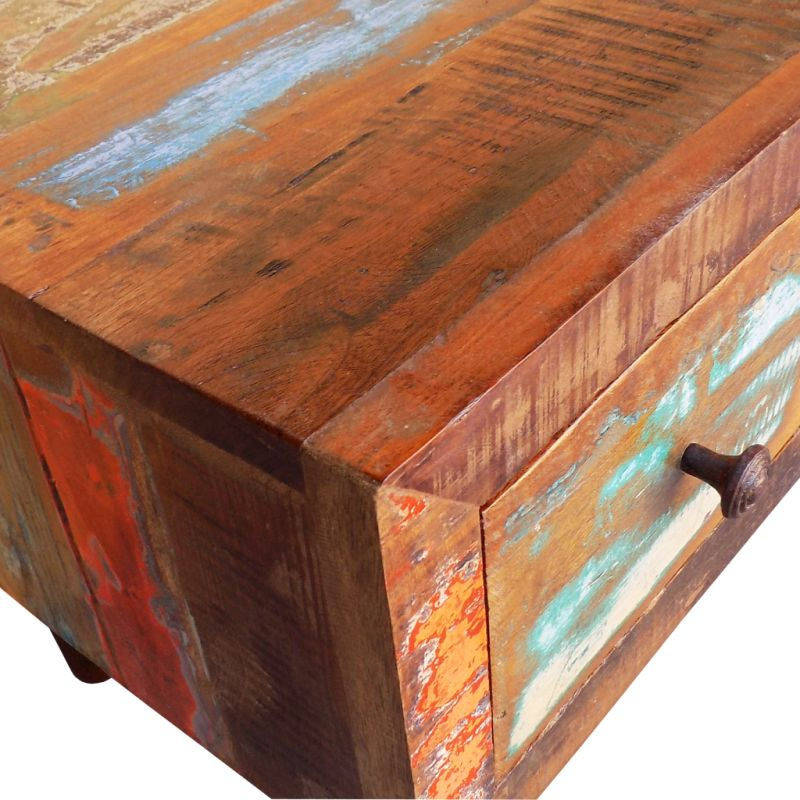 Vintage Reclaimed Wood Coffee Table W Curved Edge Buy