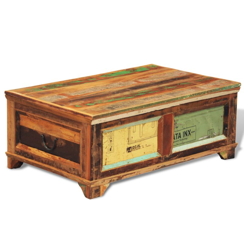 Vintage reclaimed solid wood chest coffee table buy for Buy reclaimed wood online