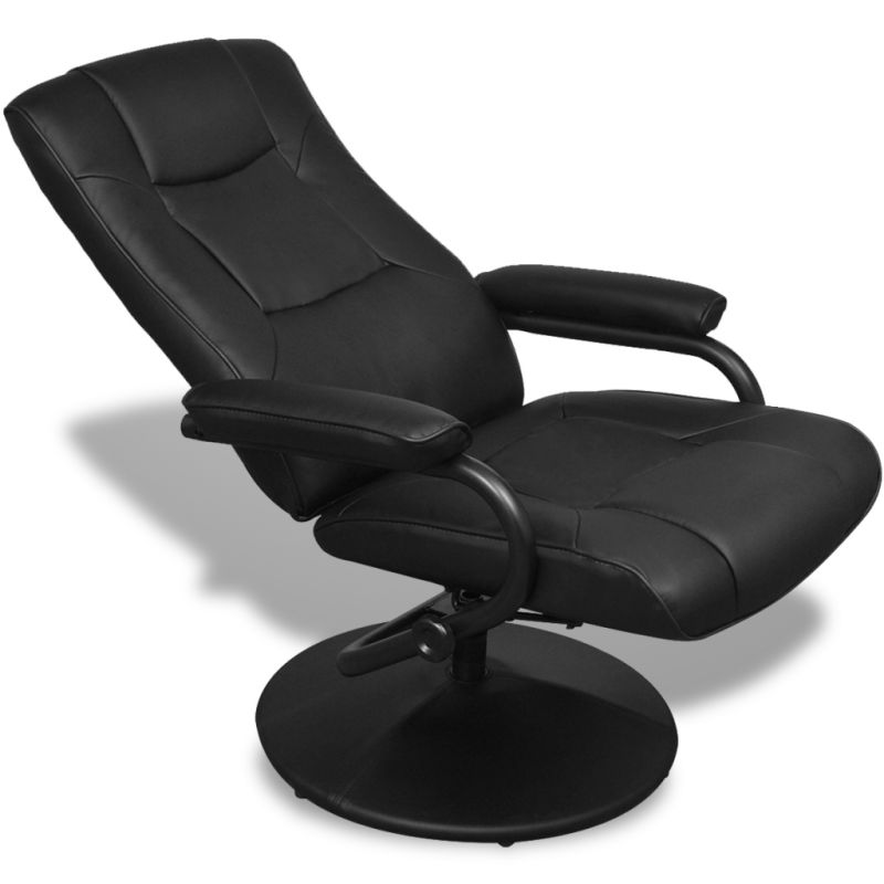 Faux Leather Recliner Armchair W Foot Stool Black Buy