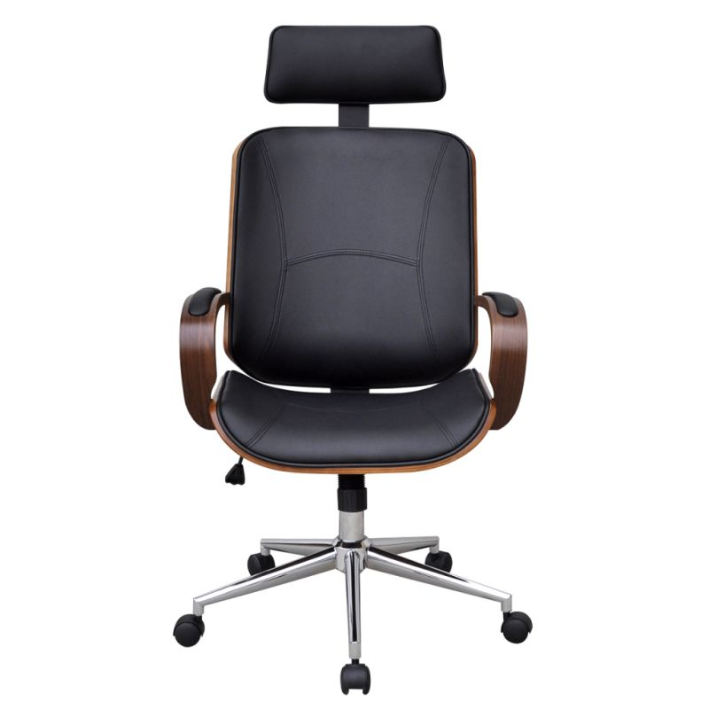 Bent Wood Faux Leather Office Chair With Headrest