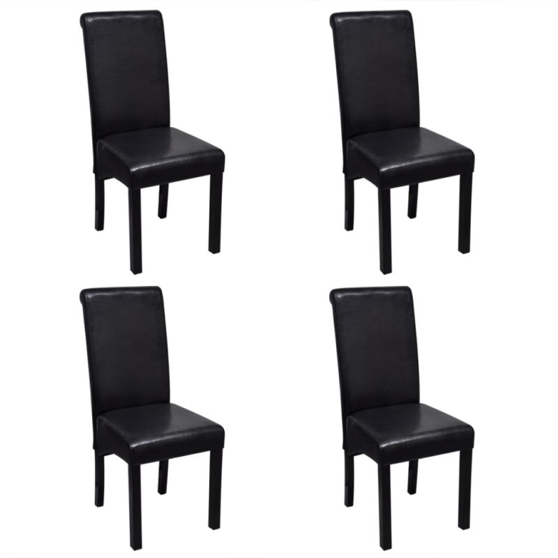 leather dining chair w wooden legs in black buy leather dining