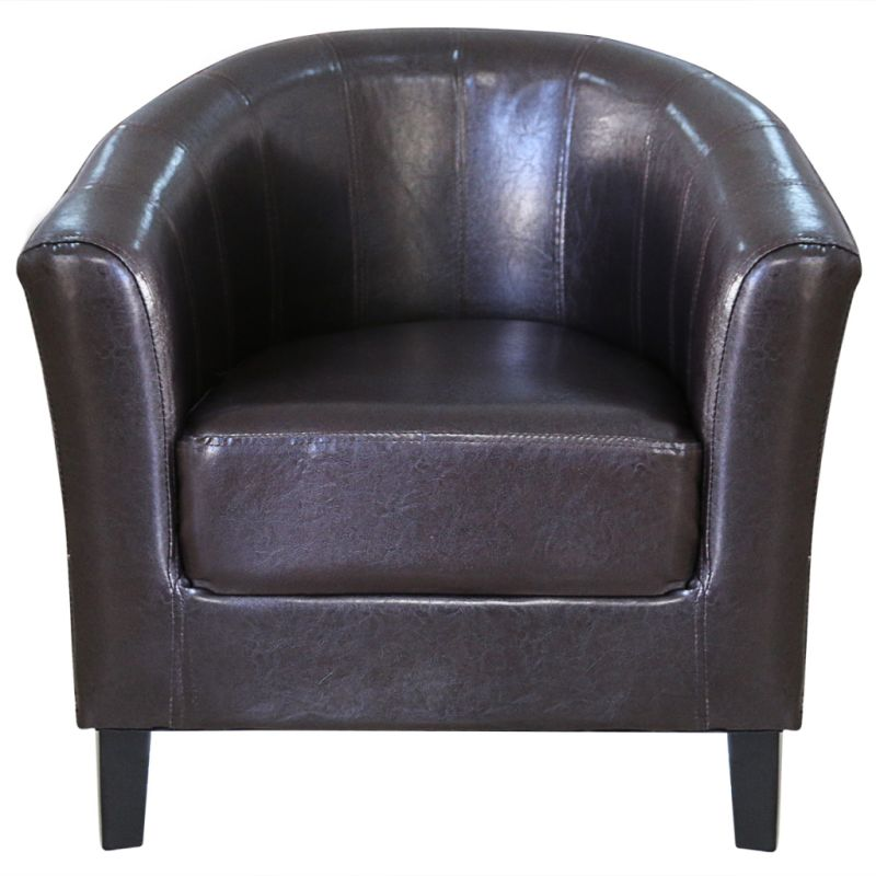 Modern Wood Amp Faux Leather Tub Sofa Chair In Brown Buy