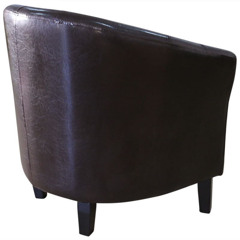 Contemporary Sofa Chairs: Modern Wood & Faux Leather Tub Sofa Chair In Brown