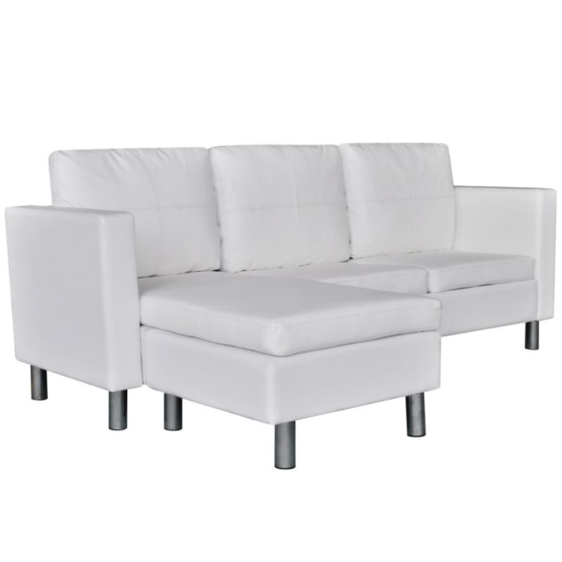 Gallery White Leather L Shaped Sofa: L-Shaped PU Leather 3 Seat Couch Sofa In White