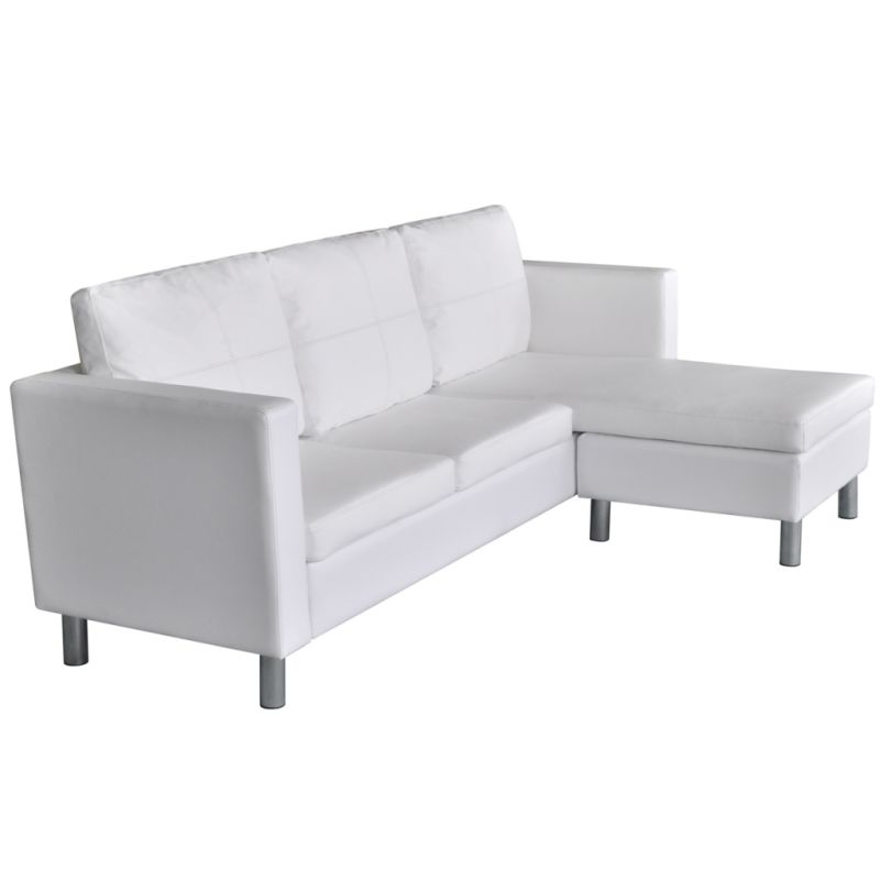 Vienna Leather Three Seater Sofa White: L-Shaped PU Leather 3 Seat Couch Sofa In White