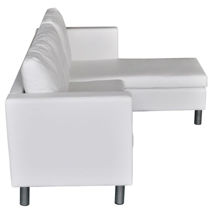 L Shaped White Leather Sofa: L-Shaped PU Leather 3 Seat Couch Sofa In White