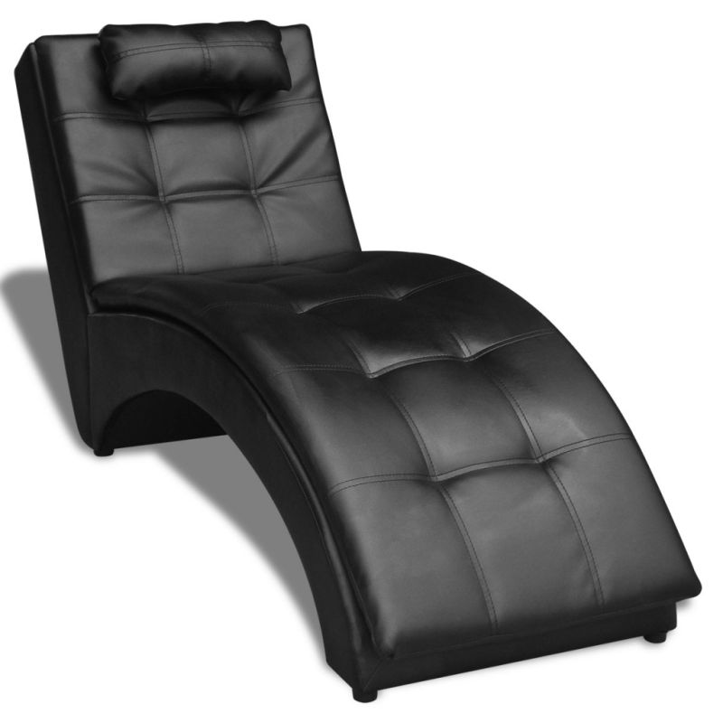 Faux leather chaise lounge with head rest in black buy for Black leather chaise lounge