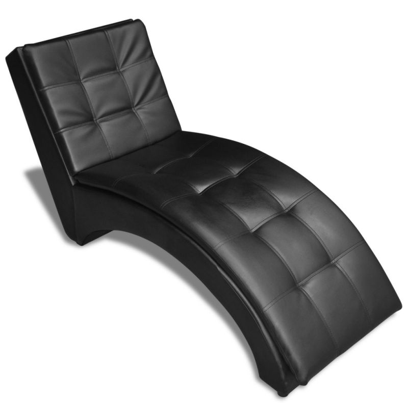 Faux leather chaise lounge with head rest in black buy for Black faux leather chaise lounge