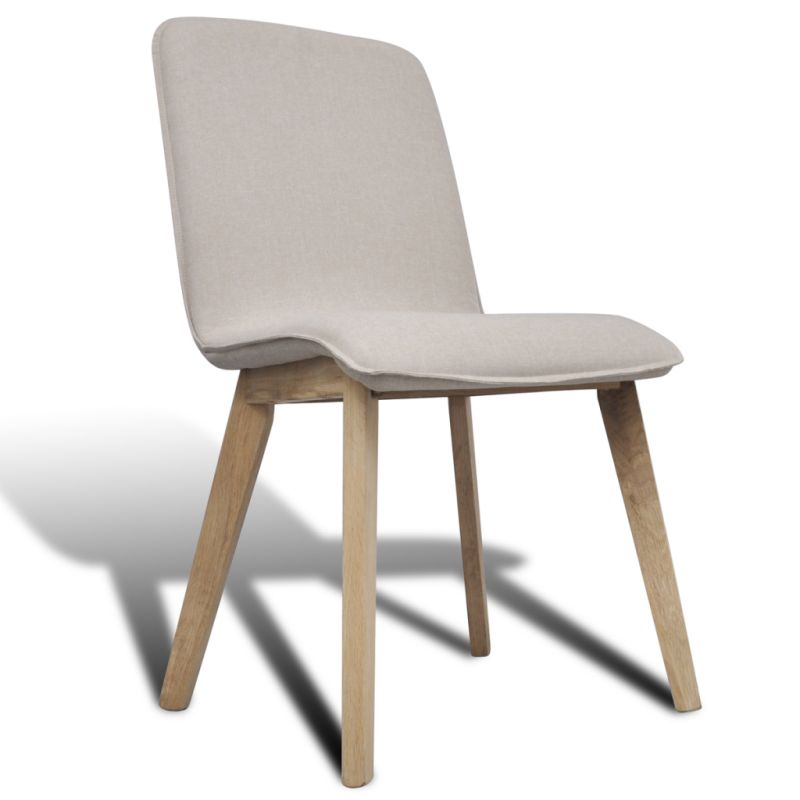 6x Fabric Dining Chairs W Oak Frame In Beige Buy Fabric Dining Chairs