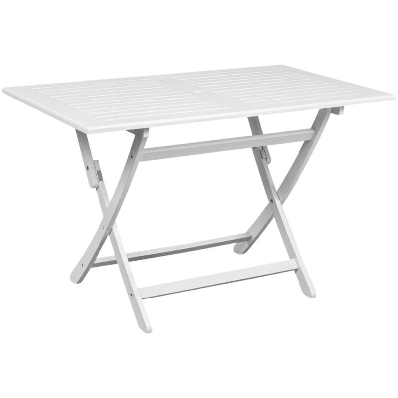 Foldable Outdoor Dining Table In White Acacia Wood Buy